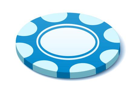 Blue chip icon, vector illustration
