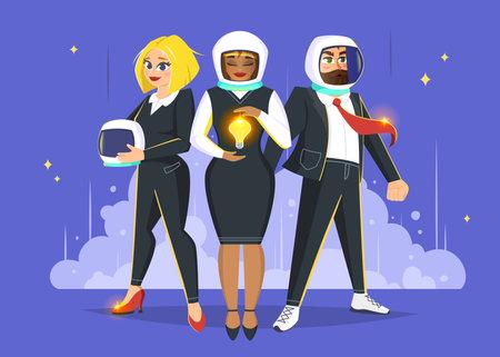 Startup team web banner. Business vector illustration
