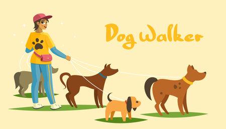 Dog walking services banner, person and animals vector illustration Illusztráció