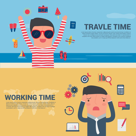 man and banner: Business Man Banner travel time and working time, Summer Holiday Vector illustration