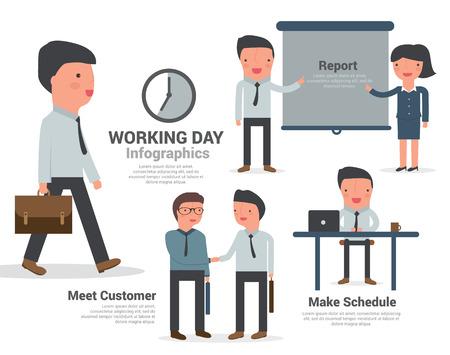 salary man: Business Man working office infographics, cartoon vector illustration