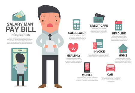 bill payment: Saraly man payment bill, cartoon vector illustration.