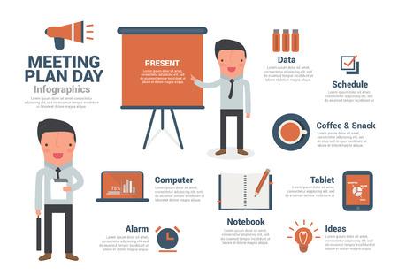 salary man: Business Man Meeting Plan Infographics, cartoon vector illustration.