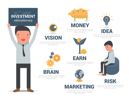 business man vector: Infographic investment business man, vector illustration Illustration