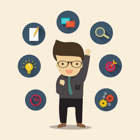 salary man: Busniess Man get idea, vector illustration Illustration