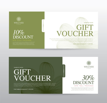 Bon cadeau modèle pour Spa, Hôtel Resort, illustration
