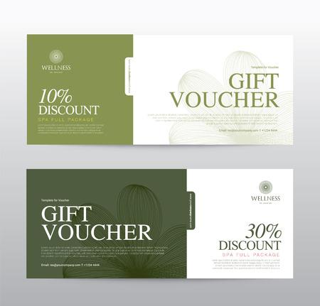 Plantilla de vales de regalo para Spa, Hotel Resort, ilustración
