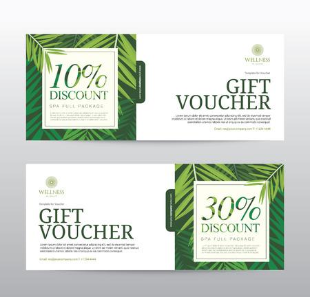 hotel resort: Gift Voucher template for Spa, Hotel Resort, illustration Illustration