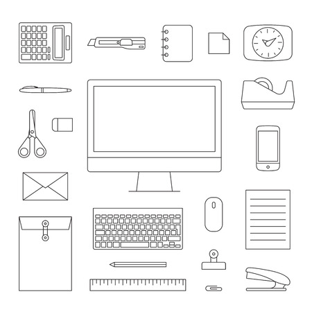 minimal: Minimal style icon Stationary Office set, thin line symbol, Vector illsutration. Illustration