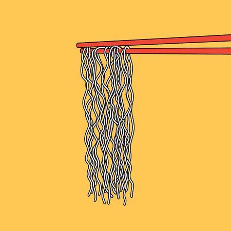 Instant Noodle Asian food into chopsticks, menu poster, vector illustration Illustration