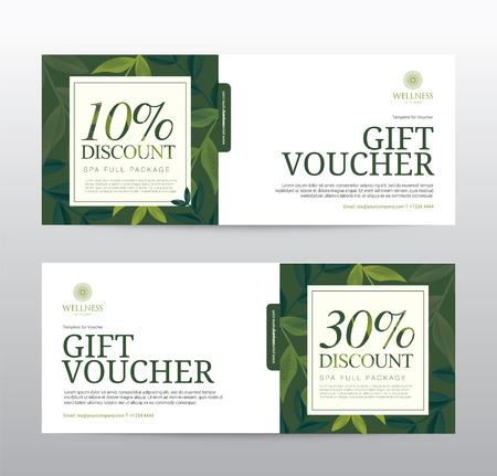 beauty spa: Gift Voucher template for Spa, Hotel Resort, Vector illustration Illustration