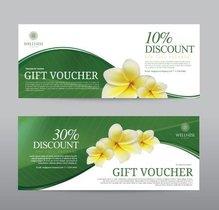 Gift Voucher for Spa Hotel Resort, Frangipani Flowers Tropical Summer Illustration