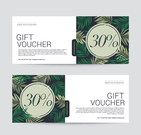 Gift Voucher template premium for Spa, Hotel Resort, Coconut palm tree background, Vector illustration