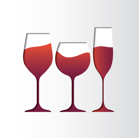 Rose wine Glass, exclude papercut style, for background icon logo menu in restaurant. vector illustration