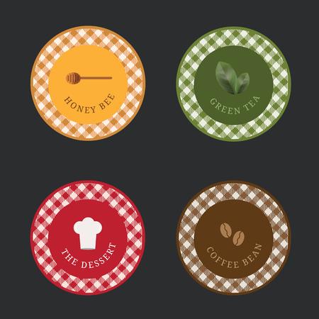 Food Label package for dessert restaurant drink menu sweet bakery, vector illustration.