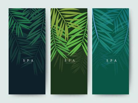 Branding Emballage fond de nature fleur, bon de bannière logo, printemps été tropical, illustration vectorielle