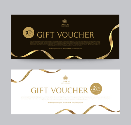 Gift Voucher Template Promotion Sale discount, Gold background, vector illustration