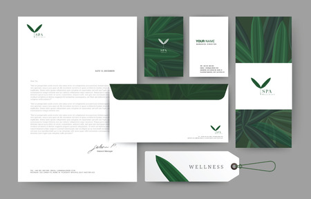 Branding identity template corporate company design, Set for business hotel, resort, spa, luxury premium logo, vector illustration Illusztráció