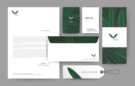 Branding identity template corporate company design, Set for business hotel, resort, spa, luxury premium logo, vector illustration Illustration