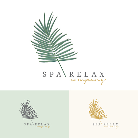 Palm coconut tress logo. For resort hotel packaging branding. Premium logo green and gold color style. Vector illustration.