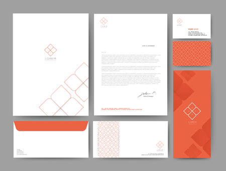 Branding identity template corporate company design orange color, Set for business hotel, resort, spa, luxury premium illustration