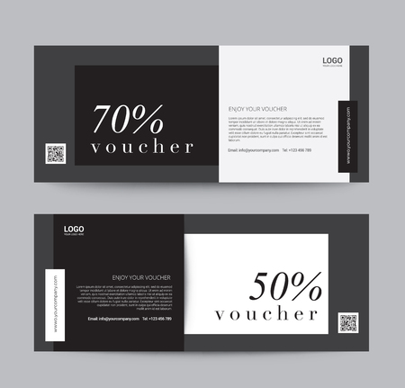 Gift Voucher Template for promotion sale discount, Black and white minimal clean style background, vector illustration