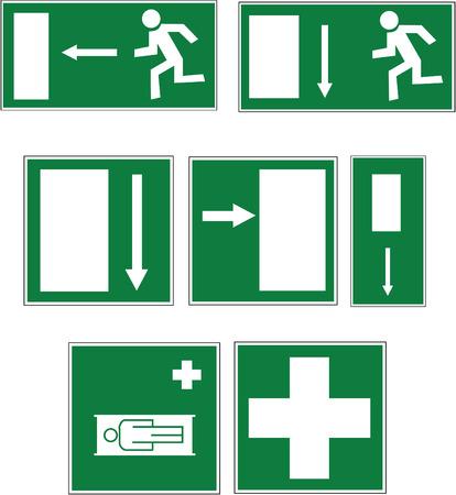 evacuacion: vector con siete signos blanco sobre verde para salida de emergencia, salida, las direcciones y los primeros auxilios