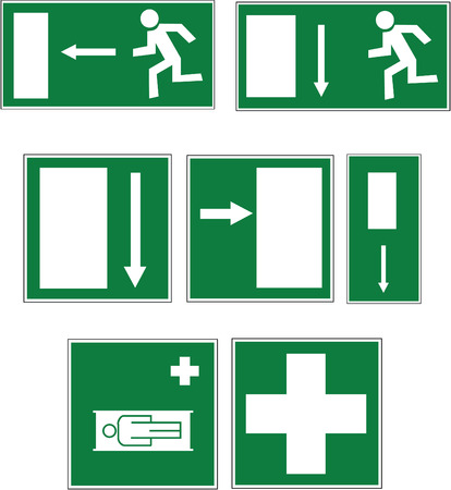 evacuatie: vector met zeven borden wit op groen voor nooduitgang, uitgang, richtingen en eerste hulp