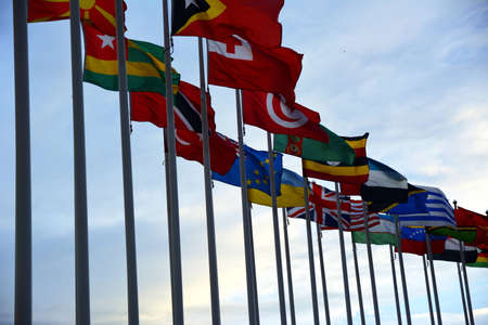 internationally: Flag Circle at the UN Headquarters in Vienna