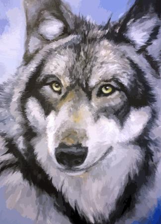 olieverfschilderij wolf