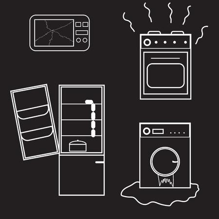 black appliances: broken appliances on black Illustration