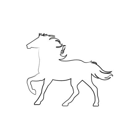 vector horse stand line icon - Vector illustration Illustration