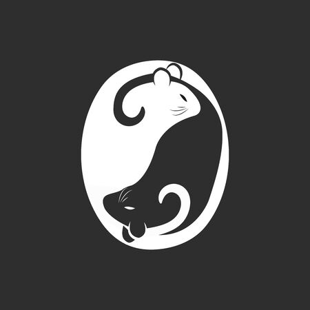 Black and white rat or mouse in yin yang shape. Beautiful stylized vector illustration. - Vector illustration