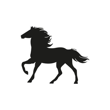 Black silhouette horse wild or domestic animal running with head looks back cartoon design flat vector illustration isolated on white background - Vector Illustration