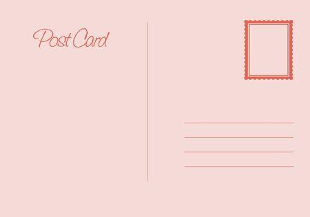 Postal card isolated on white background. Vector stock illustration - Vector illustration