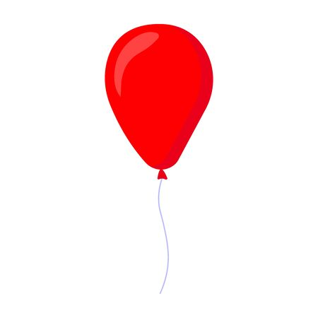 Cartoon red baloon. Decorative party element. Birthday themed vector illustration for icon, stamp, label, certificate, brochure, gift card, poster, coupon or banner decoration - Vector illustration