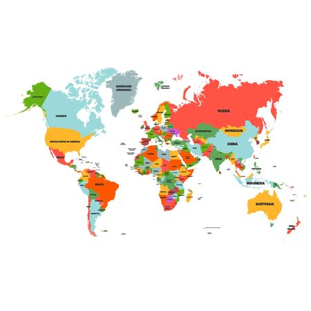 Colorful Hi detailed Vector world map complete with all countries names - Vector illustration