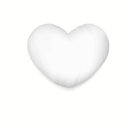 White heart pillow with soft shadow.