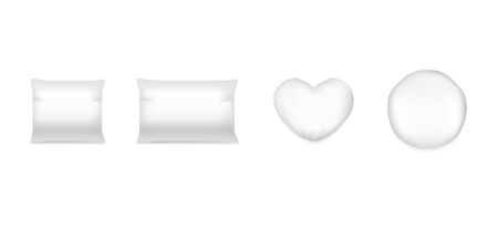 Realistic white cushion. Square comfort bed pillow, soft blank round cushions for sleep and rest.