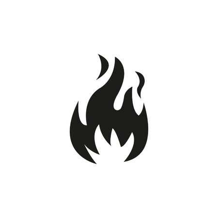 Fire flame icon. Black icon isolated on white background. Fire flame silhouette. Simple icon. Web site page and mobile app design vector element. - Vector illustration.