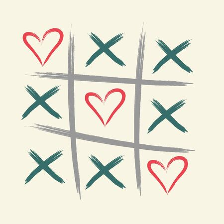 Tic tac toe game with criss cross and heart sign mark. XOXO. Hand drawn brush. Happy Valentines day card. Illustration