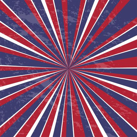 Rays background. Usa colors with grunge - Vector