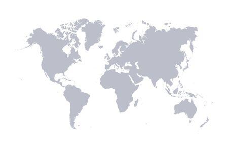 Wektor mapa świata, na białym tle. Płaska ziemia, szary szablon mapy dla wzoru strony internetowej, raport roczny, infografiki. Glob podobna ikona mapy świata. Podróż na całym świecie, tło sylwetka mapy.