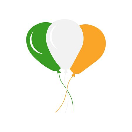 Set of balloons in the colors of the Irish flag isolated on white background, illustration. - Vector