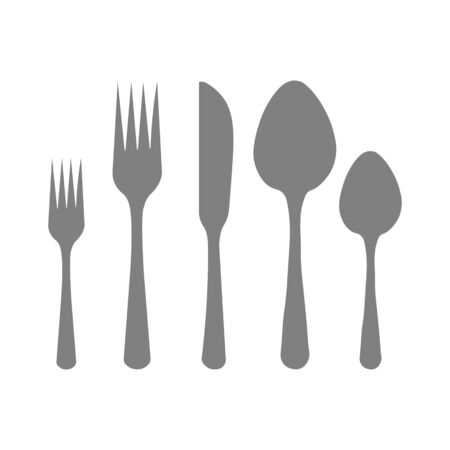 Cutlery silhouettes. Spoon, knife, forks Ready to use vector elements  イラスト・ベクター素材