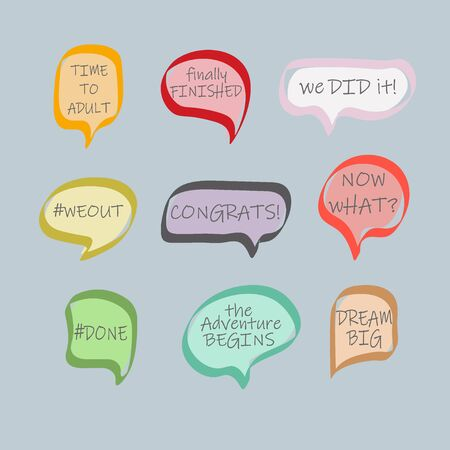 Graduation party photo booth props. Photobooth vector set. Congrats grad phrase. Gold and black bubbles with funny quotes. Concept for selfie. - Vector