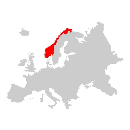 Norway on map of europe Illustration