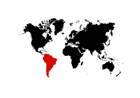 The map of South America is highlighted in red on the world map - Vector illustration 일러스트