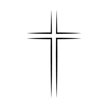 Gray Christian cross icon. Simple Christian cross
