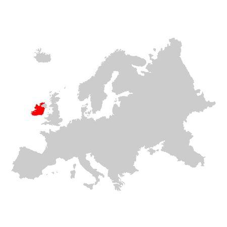 Ireland on map of europe